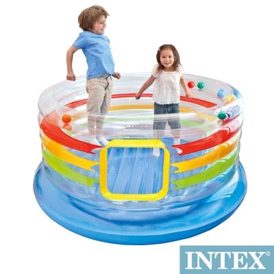 INTEX 兒童充氣式跳跳床-多彩圓型-寬182cm