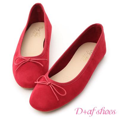D+AF 芭蕾舞曲.蝴蝶結絨料平底娃娃鞋*紅