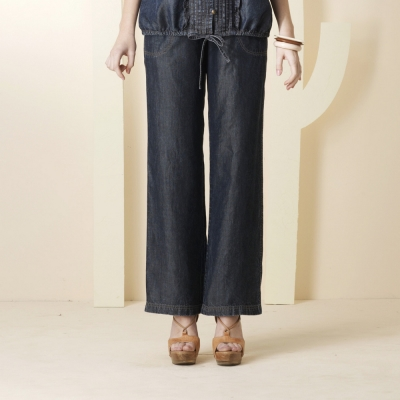 ohoh-mini-纖長曲線寬版輕薄單寧孕婦長褲