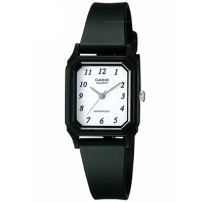 CASIO 輕便巧小運動指針錶(LQ-142-7B)-白色數子面x黑-22mm