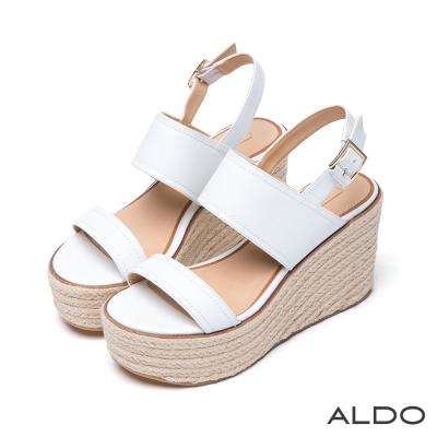 ALDO-休閒原色後拉帶式麻花編織楔型跟涼鞋-白色
