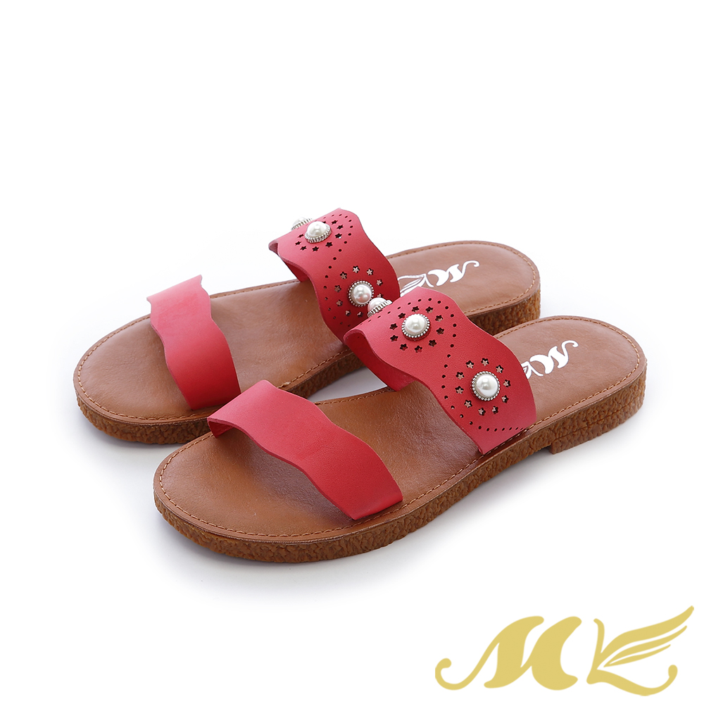 MK-真皮手作-夏日波浪鏤空珍珠厚底拖鞋-紅色