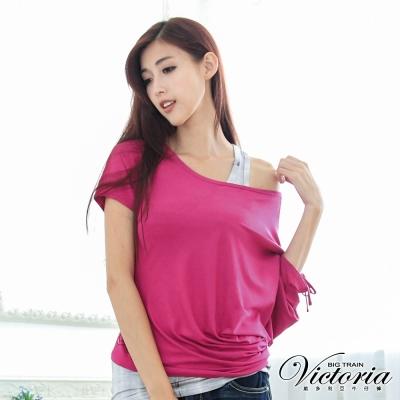 Victoria 不對稱袖皺印花TEE-女-紫紅