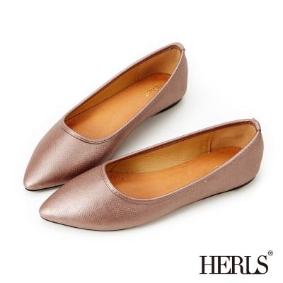 HERLS-極簡迷人 銀河星空尖頭平底鞋-香檳粉