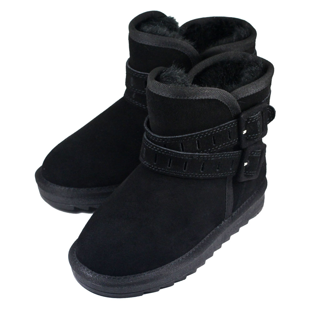 Swan天鵝童鞋-雙帶釦環真皮雪靴3838黑