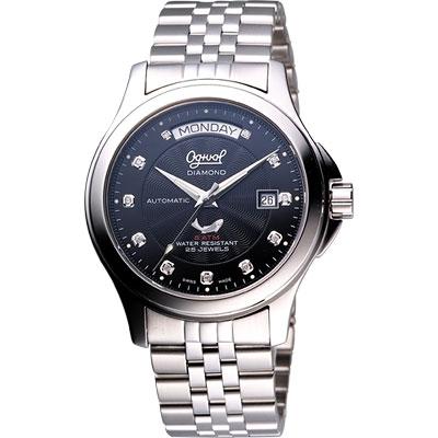 Ogival 愛其華 真鑽時尚 Day-Date 機械腕錶-黑/40mm
