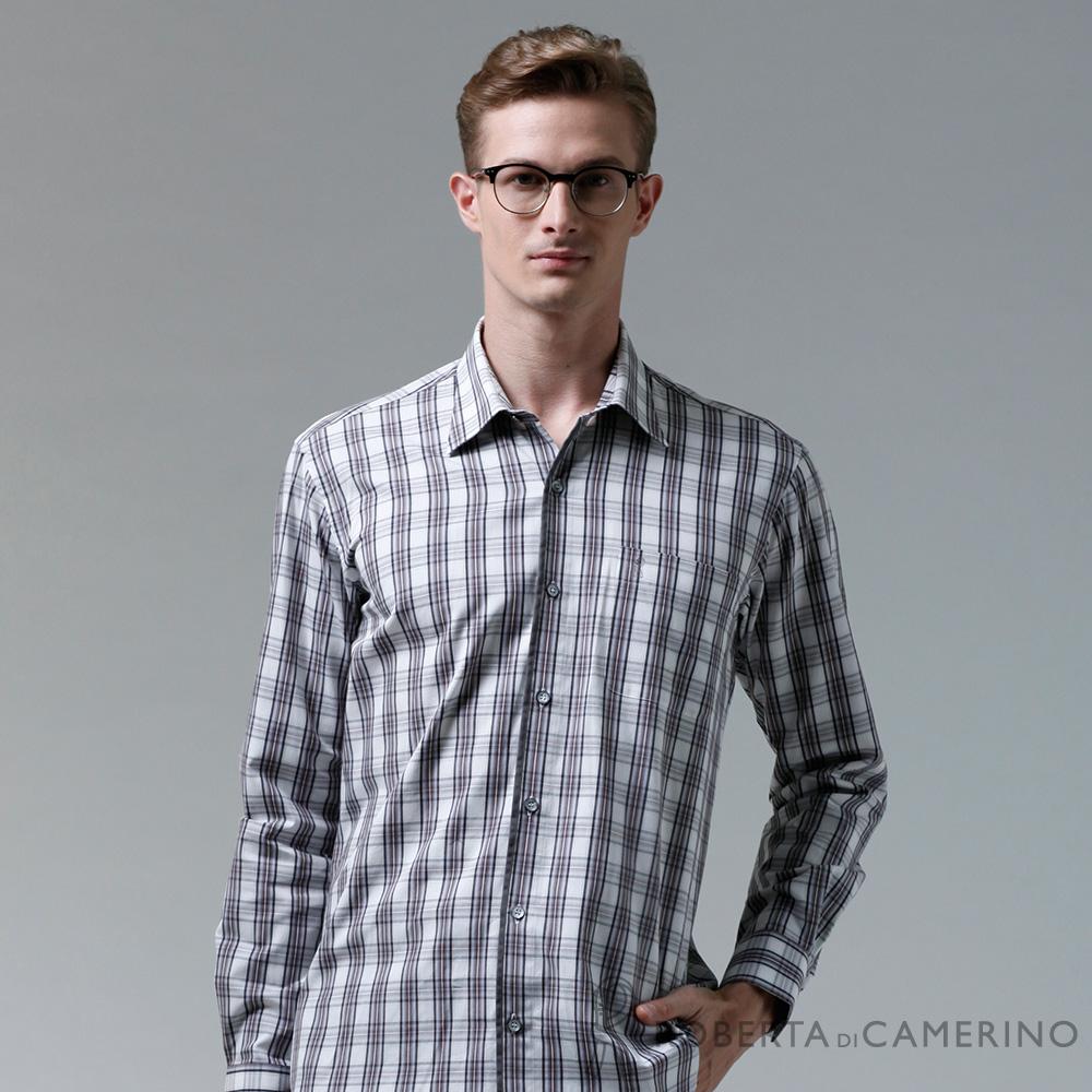 ROBERTA諾貝達 台灣製 嚴選穿搭 純棉調皮格紋長袖襯衫 灰白