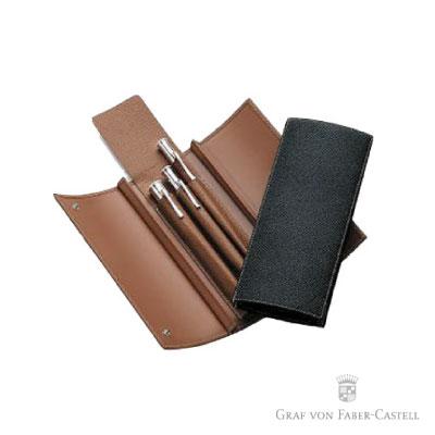 Graf von Faber-castell 三開式折疊皮製三支裝筆套