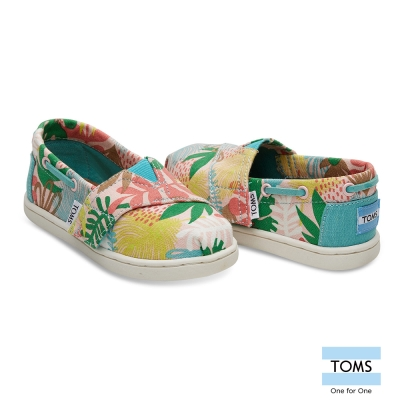 TOMS 熱帶棕梠印花懶人鞋-幼童款