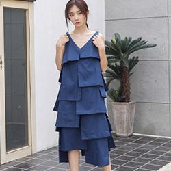復古拼接不規則吊帶洋裝 (共二色)-Kugi Girl