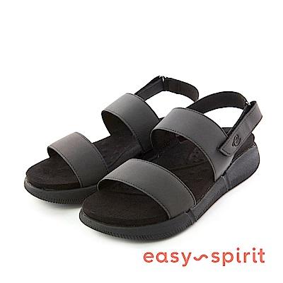 Easy Spirit--一字後拉帶厚底涼鞋-時髦黑