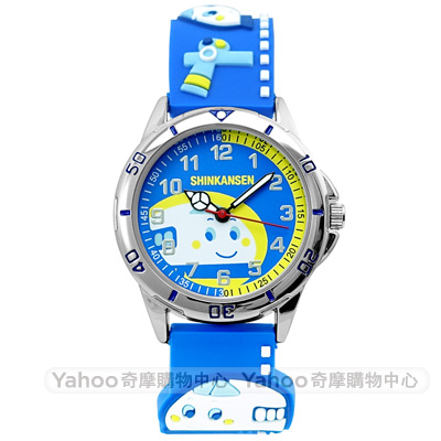 HELLO KITTY 新幹線立體火車造型手錶-藍/32mm