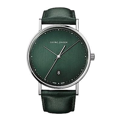GEORG JENSEN 喬治傑生-KOPPEL系列經典時尚手錶-綠- 41 mm