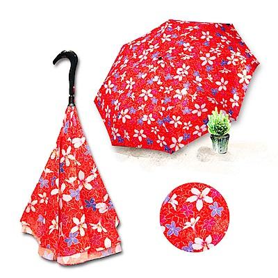 好雅也欣-雙層傘布散熱專利反向傘-浪漫台三線-桐花系列(紅花)