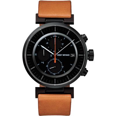 ISSEY MIYAKE 三宅一生W系列 三眼計時腕錶SILAY006-黑x咖啡/43mm