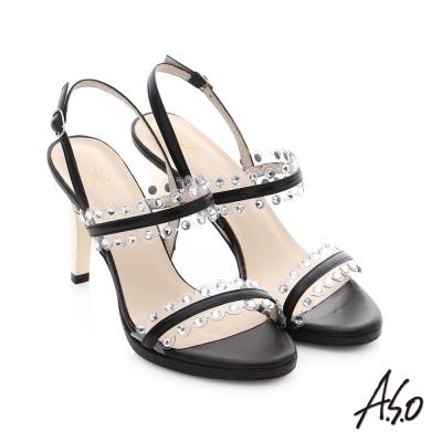 A.S.O 星光注目 璀璨水鑽飾釦高跟涼鞋 黑色