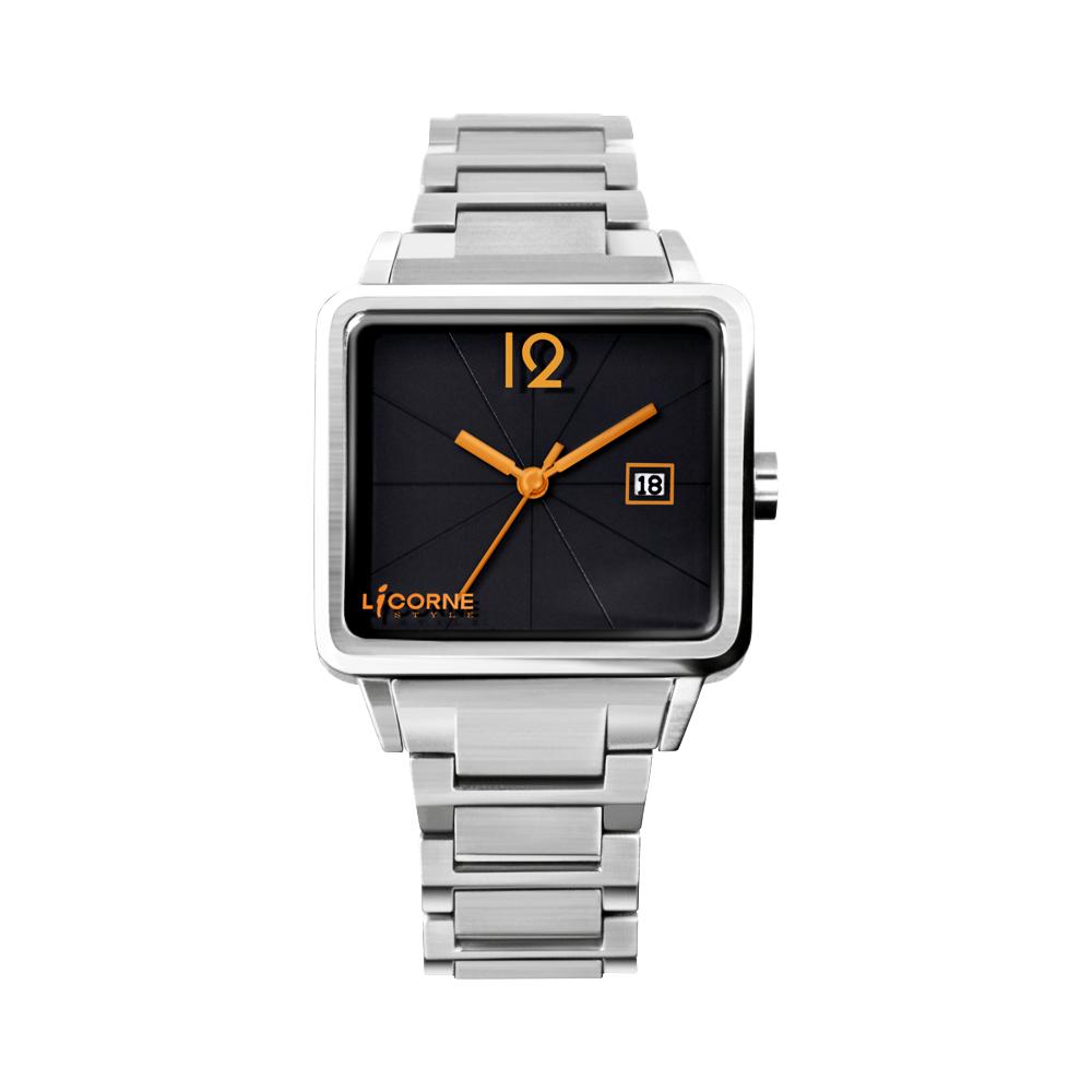 LICORNE 中性簡約時尚系列腕錶-黑/橘時標/40mm