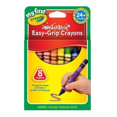 美國crayola 幼兒系列-幼兒可水洗8色三角蠟筆(2Y+)
