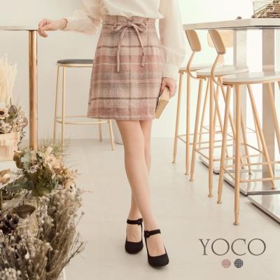 東京著衣-yoco 經典赫本格紋附綁帶中長裙-S.M.L(共二色)
