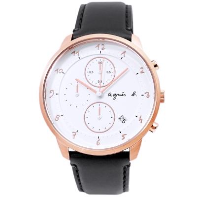 agnes b.簡約手繪時標真皮計時手錶-白X玫瑰金/40mm