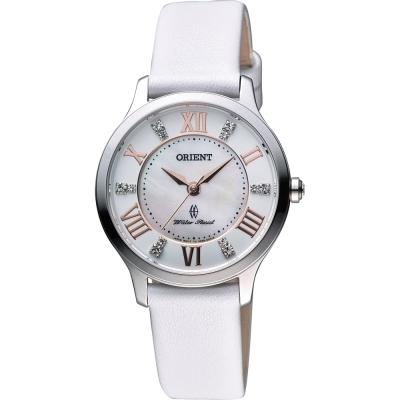 ORIENT 美麗情報晶鑽女錶-珍珠貝x白/31mm