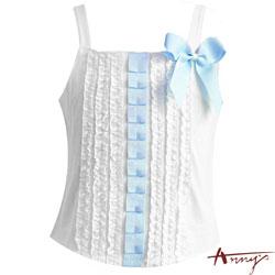 Anny's 甜心滿滿荷葉蝴蝶結細肩上衣*5179水藍