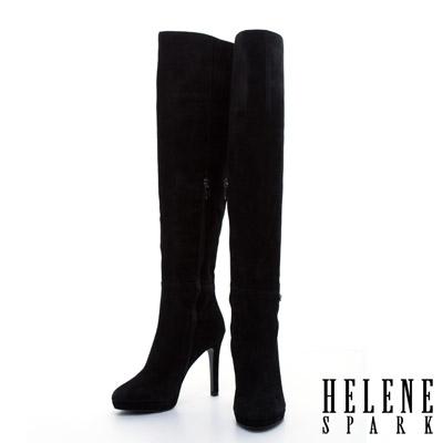 長靴-HELENE-SPARK-率性鞋側拉鍊造型素面細跟長靴-麂皮黑
