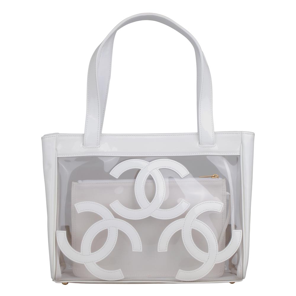 CHANEL 經典雙C LOGO透明漆皮手提包(白)-展示品