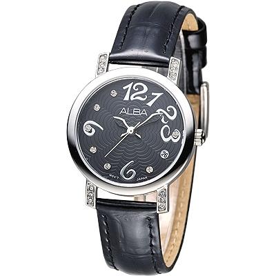 ALBA 天使心鑽甜美淑女腕錶(AG8451X1)-黑/30mm