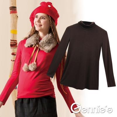 Gennie's奇妮-百搭立領彈性素色孕婦上衣-咖/灰/深灰(G3Z04)