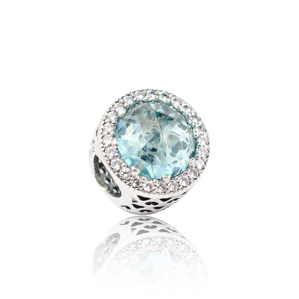 Pandora 潘朵拉 魅力鑲鋯冰川綠水晶 純銀墜飾 串珠