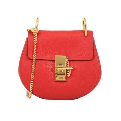 CHLOE Mini Drew 鍊帶皮革斜背包(紅色)
