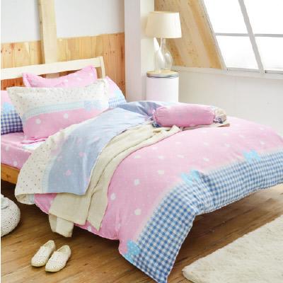 Goelia 公主日記 加大 活性印染超細纖 全鋪棉床包兩用被四件組