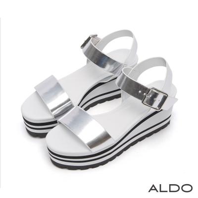 ALDO 一字方形金屬釦雙色厚底涼鞋~前衛銀色
