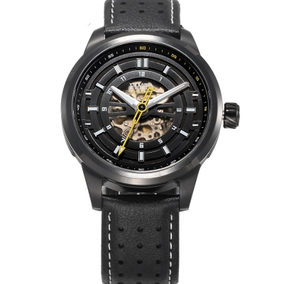 FIYTA 飛亞達 極限系列自動機械皮帶男錶-黑/42mm