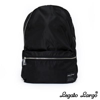Legato Largo 霧面光澤感尼龍後背包 黑色