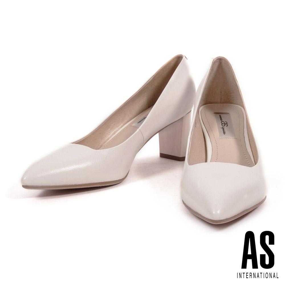 高跟鞋 AS 簡約純色全真皮尖頭粗跟高跟鞋-米