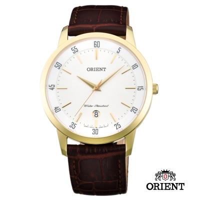 ORIENT 東方錶 SLIM系列 藍寶石鏡面皮帶男錶-白x金色框/39mm