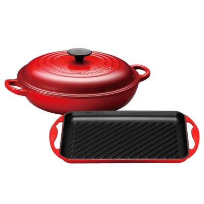 LE-CREUSET-琺瑯鑄鐵淺底鍋-26cm-櫻桃紅-琺瑯鑄鐵雙耳長方烤盤-櫻桃紅