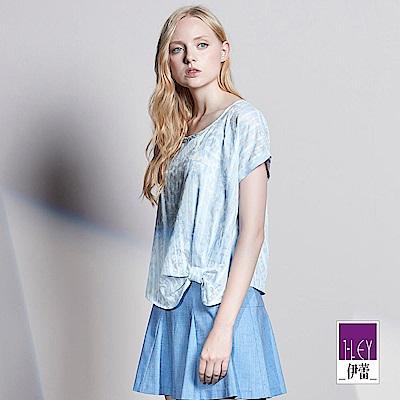 ILEY伊蕾 水漾輕甜蕾絲印花上衣(藍)