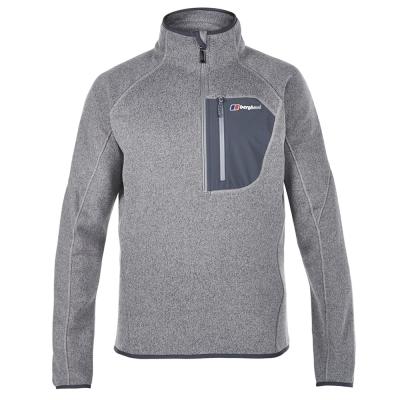 【Berghaus貝豪斯】男款CHONZIE 防潑水刷毛保暖半襟上衣H51M04灰