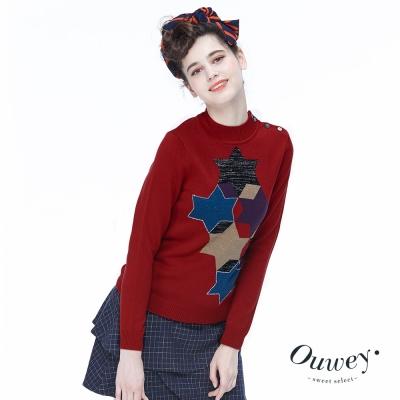 OUWEY歐薇-幾何星星半高領針織衫-紅