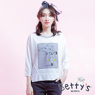 betty's貝蒂思 狐狸七分袖T-shirt(白色)