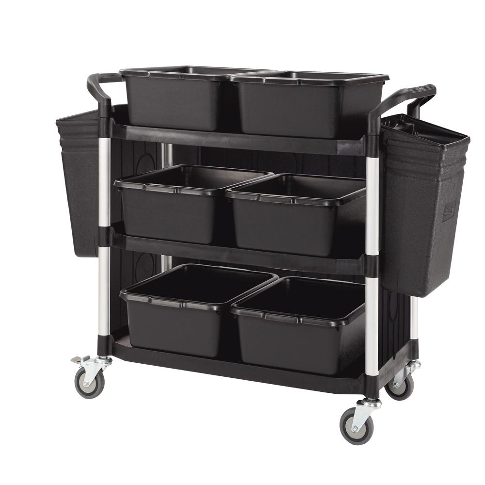 100%台灣製 豪華大型多功能三層三面圍邊工具餐車/置物架/手推車-全配經典黑