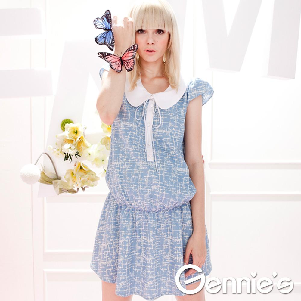 【Gennie's奇妮】學院風圓領水藍荷葉邊春夏孕婦上衣-灰藍(G1316)