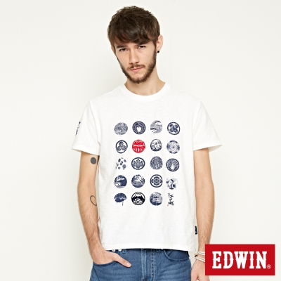 EDWIN-江戶勝家徽印花短袖T恤-男-米白