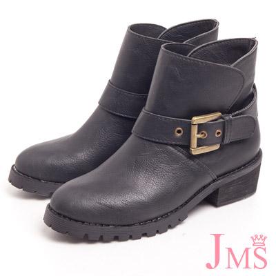 JMS-不敗款簡約單扣環工程短靴-黑色