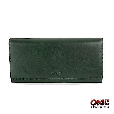 OMC 原皮系列-植鞣牛皮壓扣16卡透明窗雙隔層零錢長夾-綠色