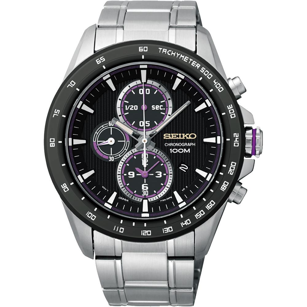 SEIKO Criteria 星際航行三眼計時腕錶(SNDG19P1)-黑/43mm