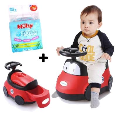 baby hood 小汽車座便器+Nuby 食鹽水柔濕巾80抽/1串